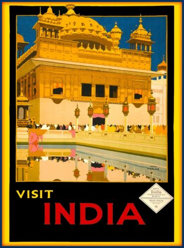 Visit India Golden Temple Harmandir Sahib Vintage Travel Advertisement  Poster