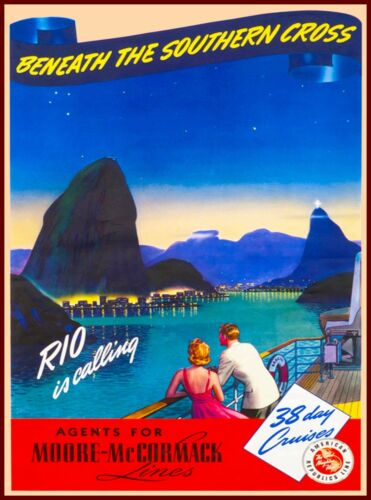 Rio is Calling Brazil South America Vintage Travel Advertisement Art Poster