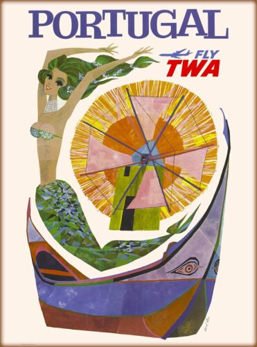 Portugal Fly TWA Mermaid Portugese Vintage Airline Travel Advertisement Poster
