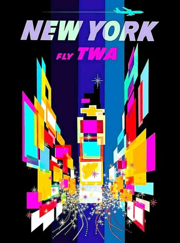 New York City Fly TWA United States Vintage Airline Travel Advertisement Poster