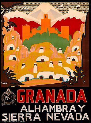 Granada Alhambra Spain Vintage Spanish Travel Advertisement Art Poster Print