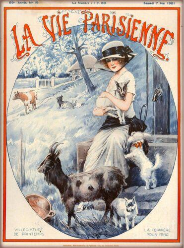 1921 La Vie Parisienne Girl On the Farm Goats France Travel Advertisement Poster