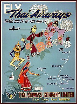 Fly Thai Airways Bangkok Thailand Vintage Travel Advertisement Art Poster
