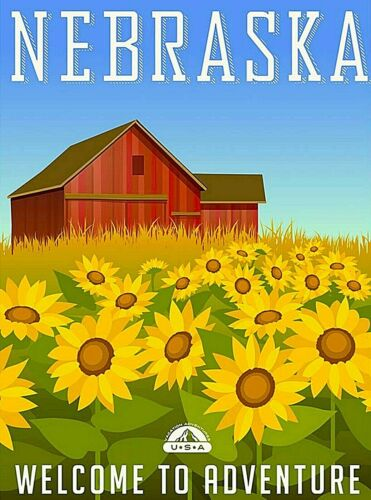 Nebraska Welcome to Adventure  Retro Travel Advertisement Art Deco Poster Print