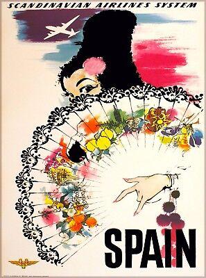 Spain Scandinavian Airlines System Vintage Travel Advertisement Art Poster Print
