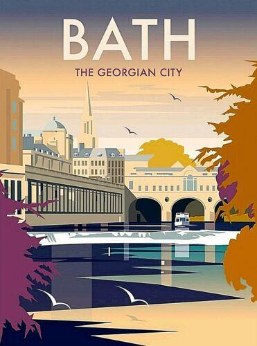 Bath England Great Britain The Georgian City Retro Travel Art Poster Print