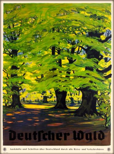 German Forest Germany Deutfcher Wald Vintage Travel Advertisement Poster Print