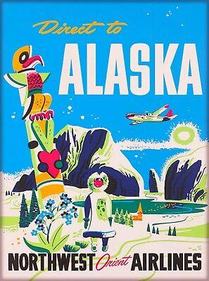 Direct to Alaska Northwest Orient Airlines Vintage Travel Advertisement Poster