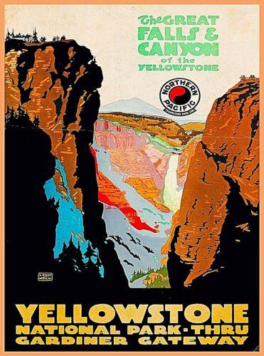Great Falls Yellowstone National Park Vintage Wyoming Travel Art Poster Print