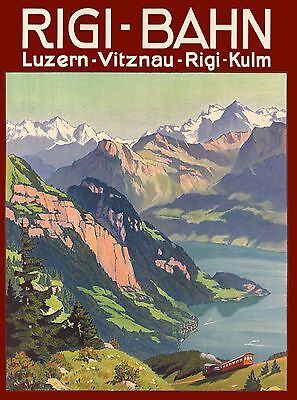 Rigi - Bahn Vitznau Lucerne Switzerland Vintage Travel Advertisement Art Poster