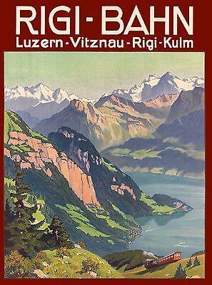 Rigi - Bahn Vitznau Lucerne Switzerland Vintage Travel Advertisement Art Poster