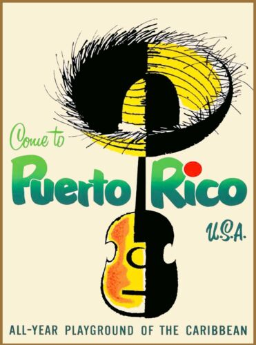 Come 2 Puerto Rico United States Caribbean Vintage Travel Advertisement Poster