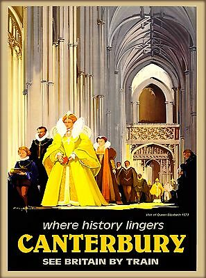Canterbury England Great Britain by Train Vintage Travel Advertisement Poster
