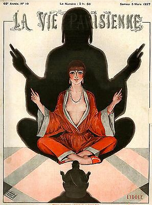 1927 La Vie Parisienne Meditation French France Travel Advertisement Art Poster