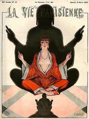 1927 La Vie Parisienne Meditation French France Travel Advertisement Art Poster
