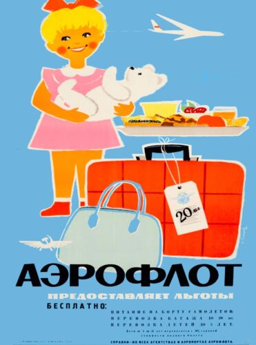 Soviet Airlines Russia Russian USSR Girl Vintage Travel Advertisement Poster