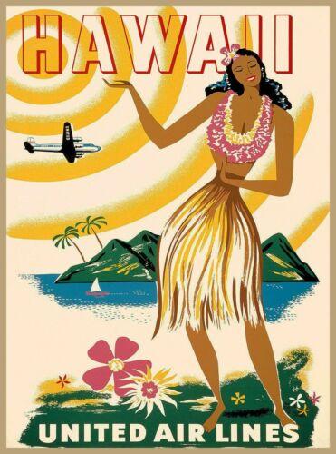 Hawaii Hula Girl Hawaiian Vintage United States Travel Advertisement Art Poster