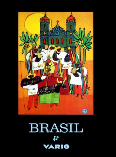 Brazil & Varig South America  Vintage Airlines Travel Advertisement Poster Print