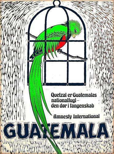 Guatemala Central Latin America Parrot Vintage Travel Advertisement Poster