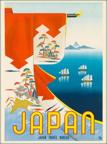 Mt. Mount Fuji Japan Japanese Travel Bureau Travel Advertisement Art Poster