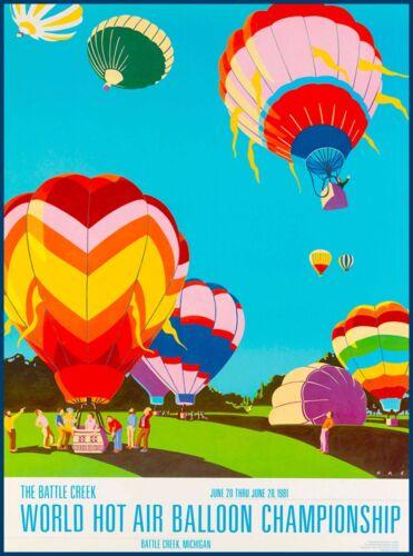 Battle Creek Michigan Hot Air Balloon United States Travel Advertisement Poster