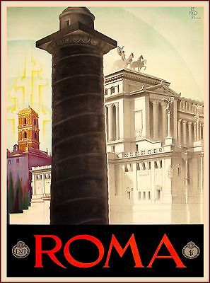 Roma Rome Italy Italian Europe Vintage Travel Advertisement Art Poster Print
