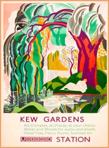 Kew Gardens Underground London England Great Britain Vintage Travel Poster
