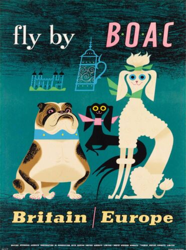 Fly by BOAC Britain England United Kingdom Vintage Airline Travel Poster Print