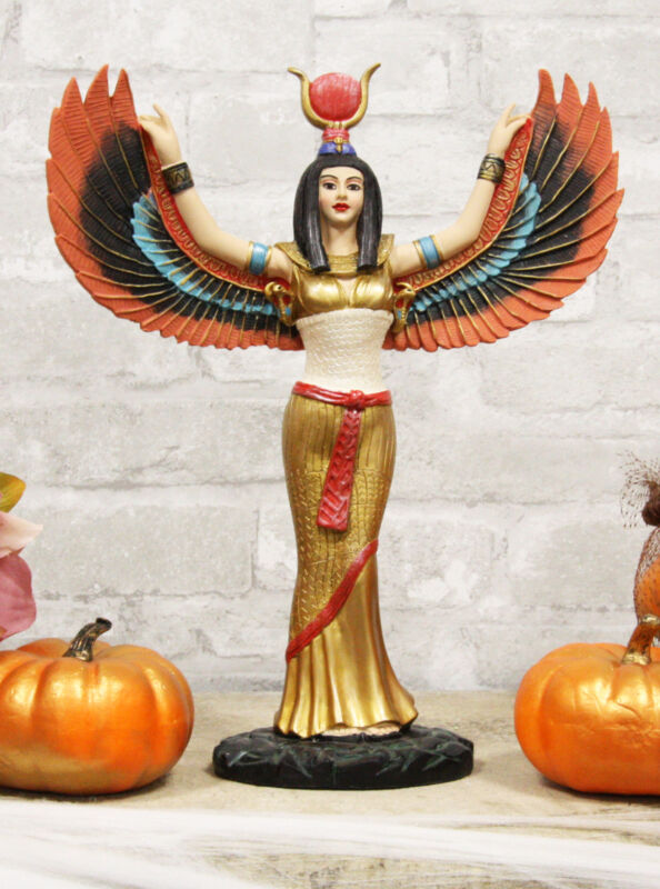 """Colorful Egyptian Goddess Isis Ra With Open Wings On Gold Robe Statue 12"""" Tall"""