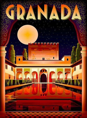 Granada Alhambra Palace at Night Spain Retro Wall Decor Travel  Art Poster Print