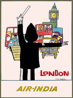 London Air India England Britain Vintage Airline Travel Advertisement Poster