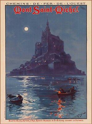 Mont Saint Michel Night France French Europe Vintage Travel Art Poster Print