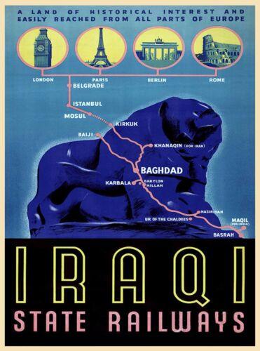 Iraqi State Railways Baghdad Iraq Vintage Railroad Travel Advertisement Poster
