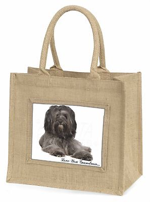Tibetan Terrier 'Love You Grandma' Large Natural Jute Shopping Bag, AD-TT2lygBLN