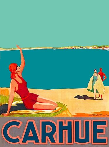 Carhue Beach Argentina South America Vintage Travel Advertisement Poster