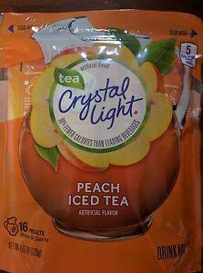 CRYSTAL LIGHT PEACH ICED TEA DRINK MIX~2 QUART PITCHER PACKS~32 QTS SUGAR FREE