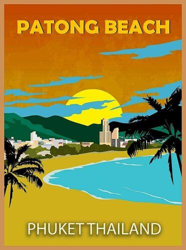 Patong Beach Phuket Thailand Asia Retro Travel Advertisement Art Poster Print