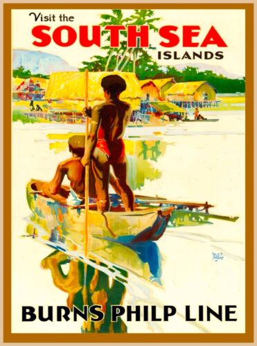 Visit the South Seas South Pacific Vintage Travel Advertisement Art Poster
