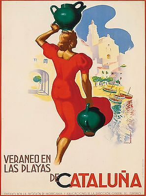 Cataluna Catalonia Spain Vintage Spanish Travel Advertisement Art Poster Print