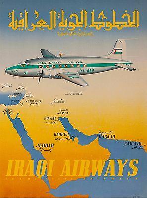 Iraqi Airways Baghdad Iraq Vintage Airline Airplane Travel Advertisement Poster