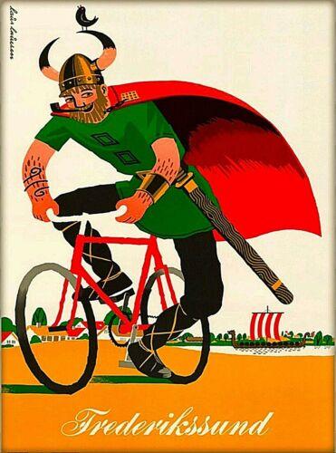 Frederikssund Denmark Scandinavia Viking on Bike Vintage Travel Art Poster Print