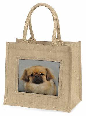 Tibetan Spaniel Dog Large Natural Jute Shopping Bag Christmas Gift Id, AD-TS2BLN
