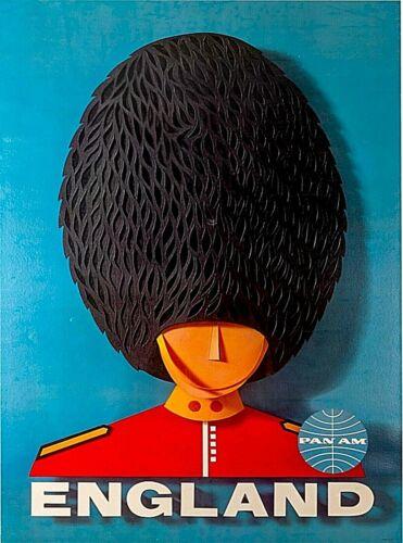 England Pan Am Guard Hat Vintage Airline Travel Advertisement Art Poster Print