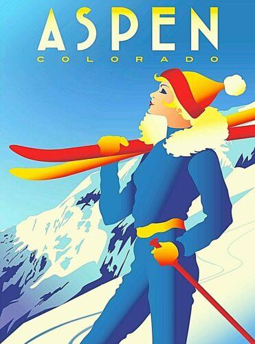 Aspen Colorado Snow Ski Retro United States Travel Advertisement Poster Print
