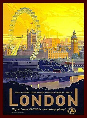 London England Vintage Travel Advertisement Art Print. Big Ben Great Britain