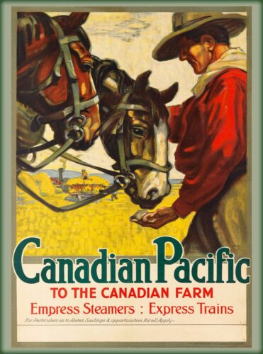 Canadian Pacific to the Farm Vintage Railway Canada Travel Advertisement Poster