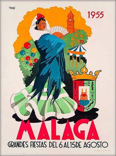 1955 Malaga Spain Vintage Spanish Travel Wall Decor Advertisement Poster Print
