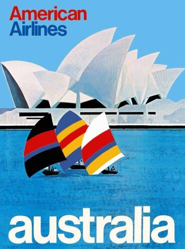 Australia Sydney American Airlines Vintage Travel Advertisement Poster Print