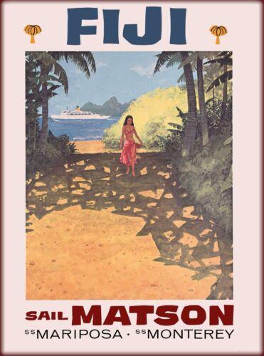 Fiji  Island Sail Matson Vintage Travel Advertisement Art Poster