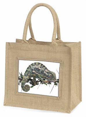Chameleon Lizard Large Natural Jute Shopping Bag Christmas Gift Idea, AR-L5BLN